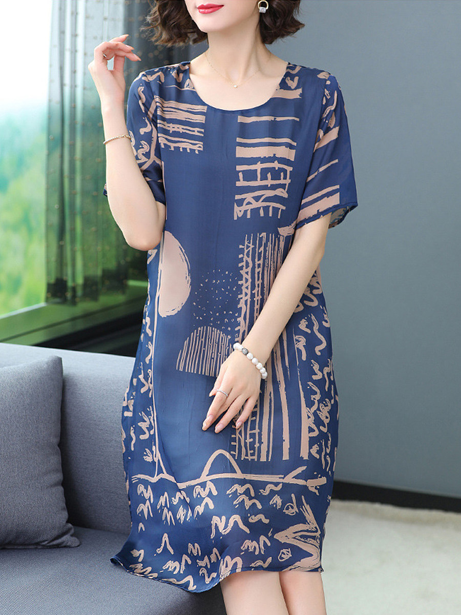 BerryLook Round Neck Printed Short Sleeve Loose A-line Shift Dress