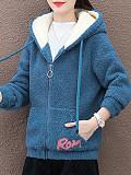 Image of Plus Velvet Thick Warm Cardigan