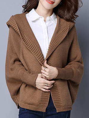 Hat Collar Casual Long Sleeve Knit Cardigan, 10327426