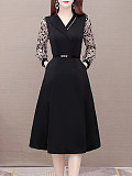 Image of Long Sleeve Waist Waist V-Neck Dress
