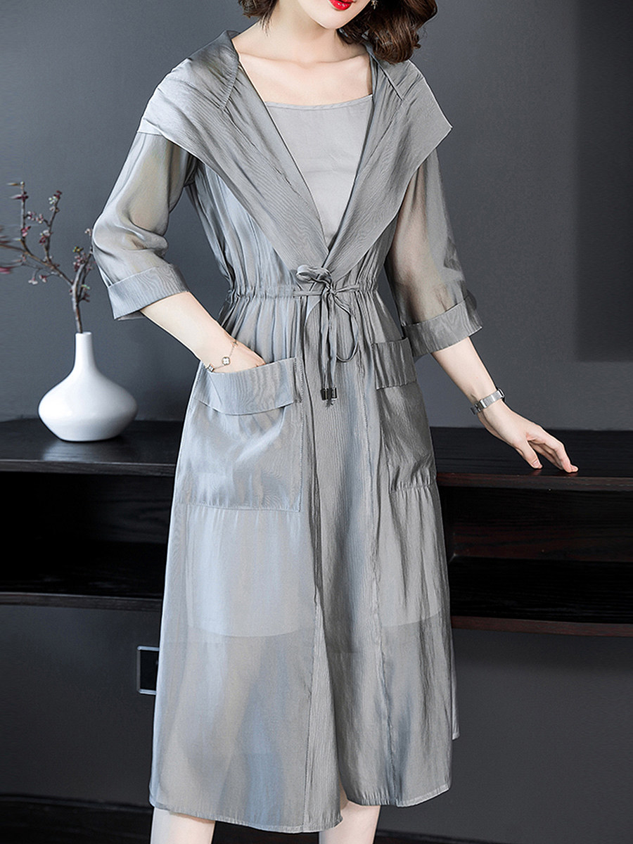 Fashion long trench coat