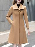 Fashion ladies lapel pure color slim-fit coat