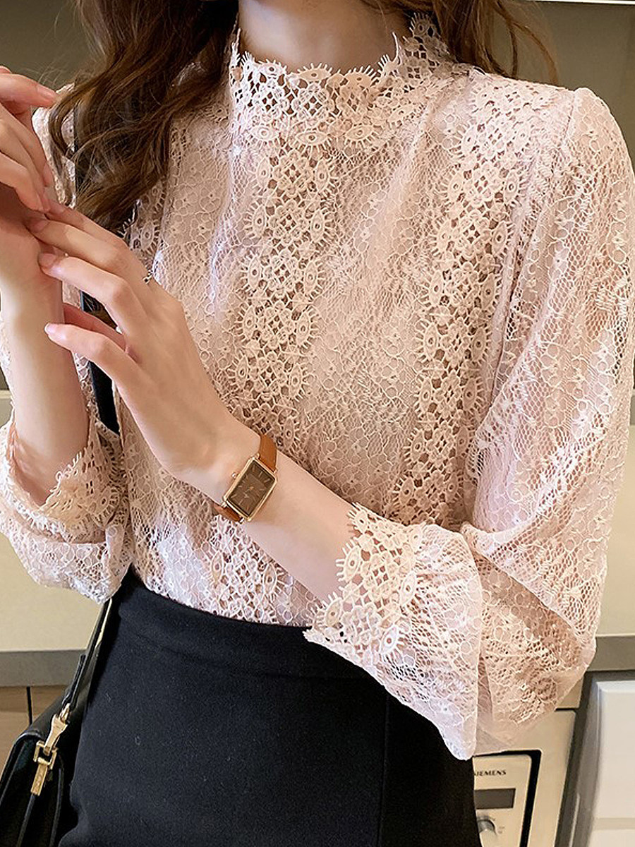 BerryLook Half High Collar Lace Long Sleeve T-shirt