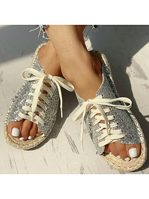 Sequined cross strap flat slippers фото