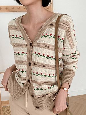 V Neck Floral Long Sleeve Knit Cardigan, 24964174