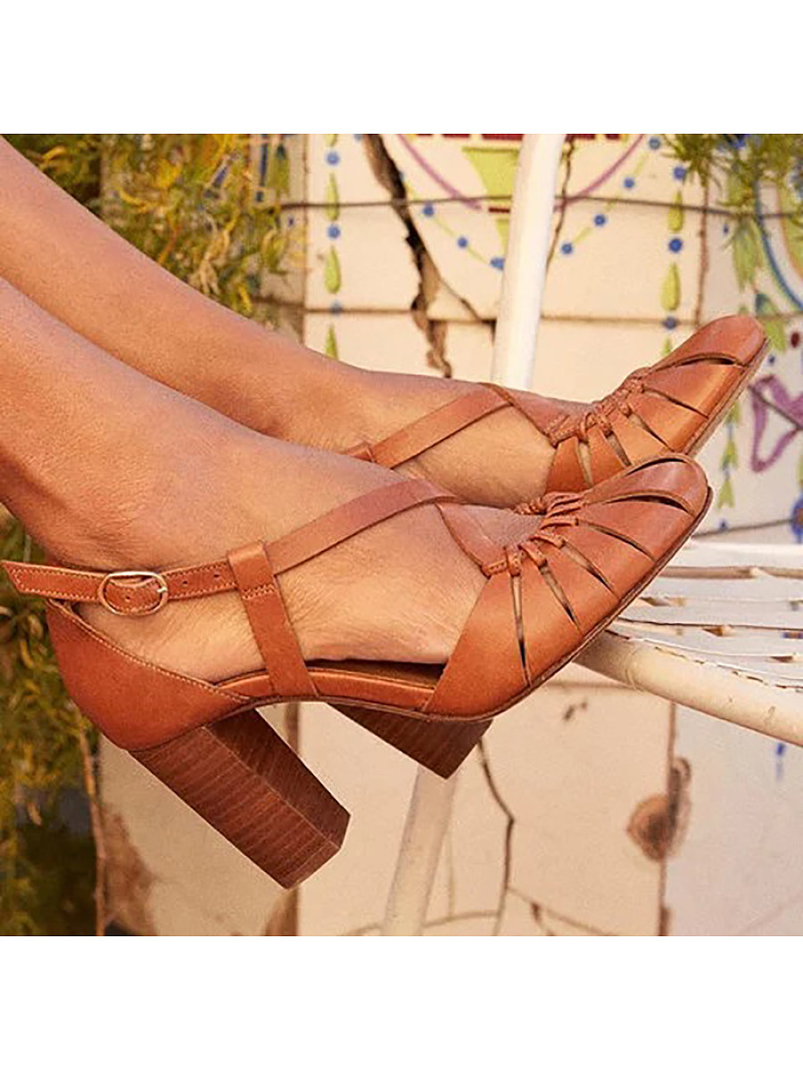 BerryLook Women's Fashion Chunky Buckled Sandals