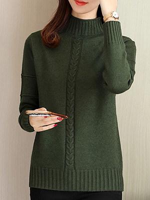 Short High Collar Elegant Plain Long Sleeve Knit Pullover, 10581557