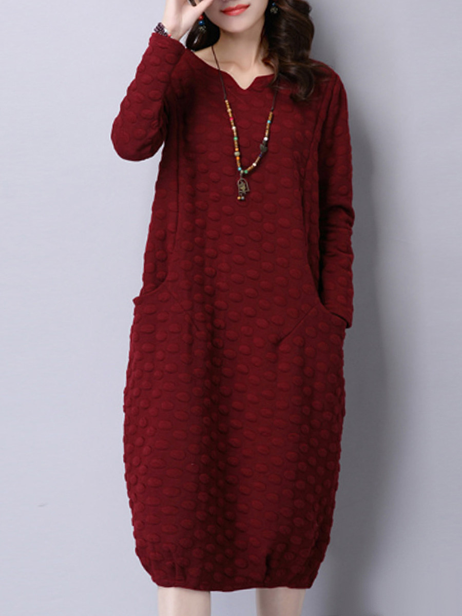 Women V Neck Slit Pocket Shift Dress - from $24.95