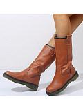 Round head high-top flat boots women's plus velvet snow boots