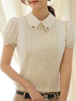 Turn Down Collar Patchwork Lace Short Sleeve Blouse, 11297005