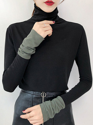 Heap Collar Casual Color Block Long Sleeve T-Shirt, 10438673
