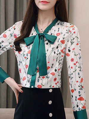Tie Collar Printed Long Sleeve Blouse, 11301903