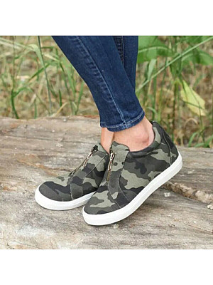 Women's Casual Solid Color Zip Sneakers, 10670781