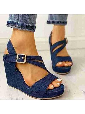 Denim casual buckle fashion sandals, 23600412