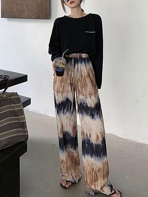 Tie-dye casual pants loose wide-leg pants high-waist straight-leg pants