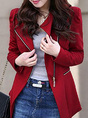 Elegant Pure Color Oblique Collar Irregular Long-Sleeved Blazer