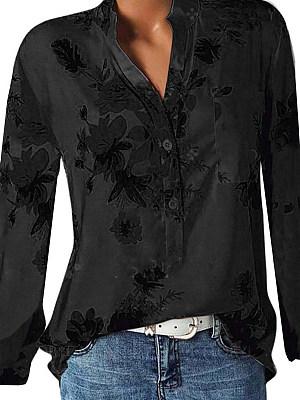 V Neck  Patchwork  Elegant  Printed  Long Sleeve   Blouse