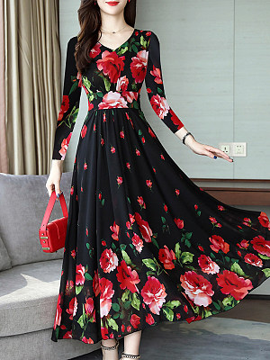 V-Neck Floral Printed Maxi Dress, 8499914