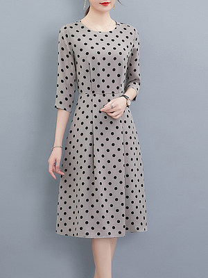 Round Neck Polka Dot Skater Dress, 8509325