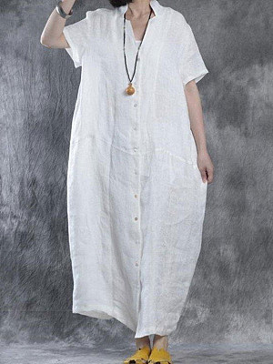 Women Summer Loose Fit Retro Linen Maxi Dress